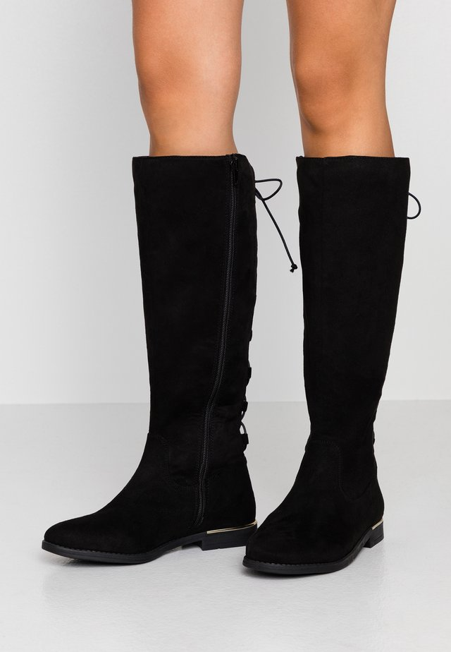 GEORGIE LACE BACK STRETCH KNEE HIGH BOOT - Boots - black