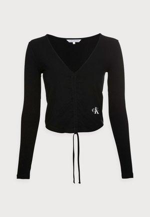 DRAWSTRINGS V-NECK TEE - Long sleeved top - black