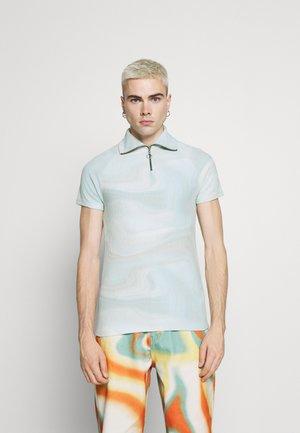 GREEN MARBLE RAGLAN ZIP THROUGH  - T-shirts med print - cream/mint