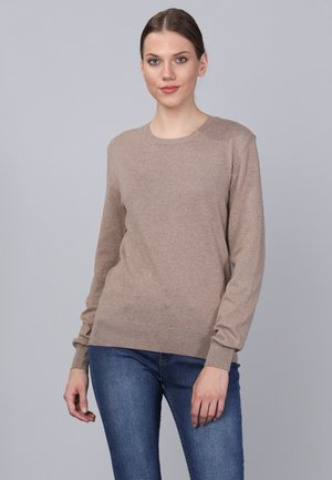 Stickad tröja - l brown melange