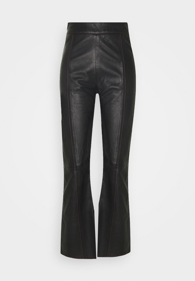 HOSBJERG - TAILOR PANT - Leather trousers - black