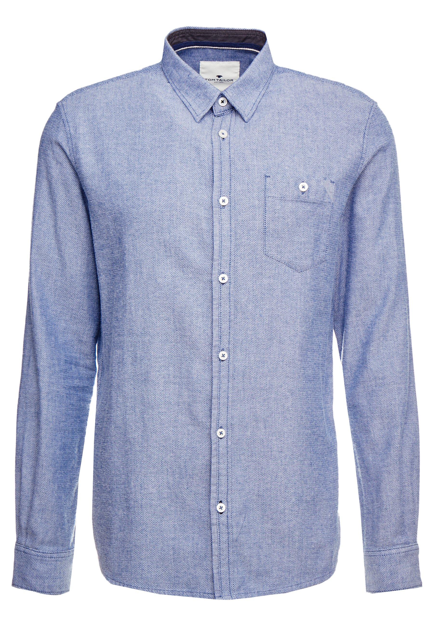 TOM TAILOR DOBBY  - Skjorte - white / structure blue