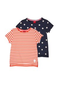 s.Oliver - 2 PACK - Print T-shirt - red stripes navy daisies - 2