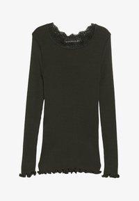 Rosemunde - SILK-MIX T-SHIRT REGULAR LS W/LACE - Langærmede T-shirts - dark green - 2