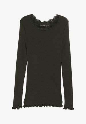 SILK-MIX T-SHIRT REGULAR LS W/LACE - Long sleeved top - dark green