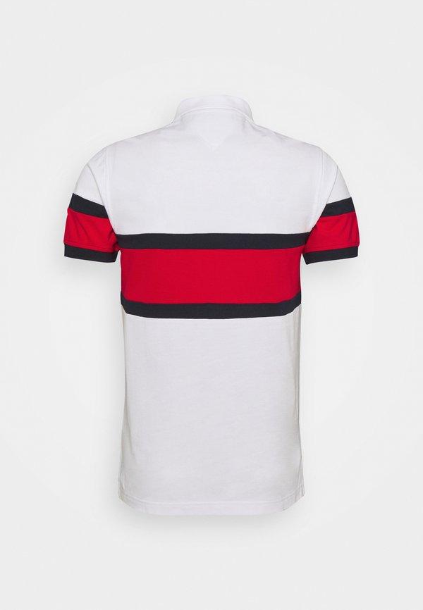 Tommy Hilfiger SIGNAT COLORBLOCK SLIM - Koszulka polo - white/desert sky/primary red/biały Odzież Męska DSPQ