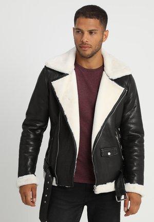 BEJOSHUA - Kožená bunda - black/offwhite
