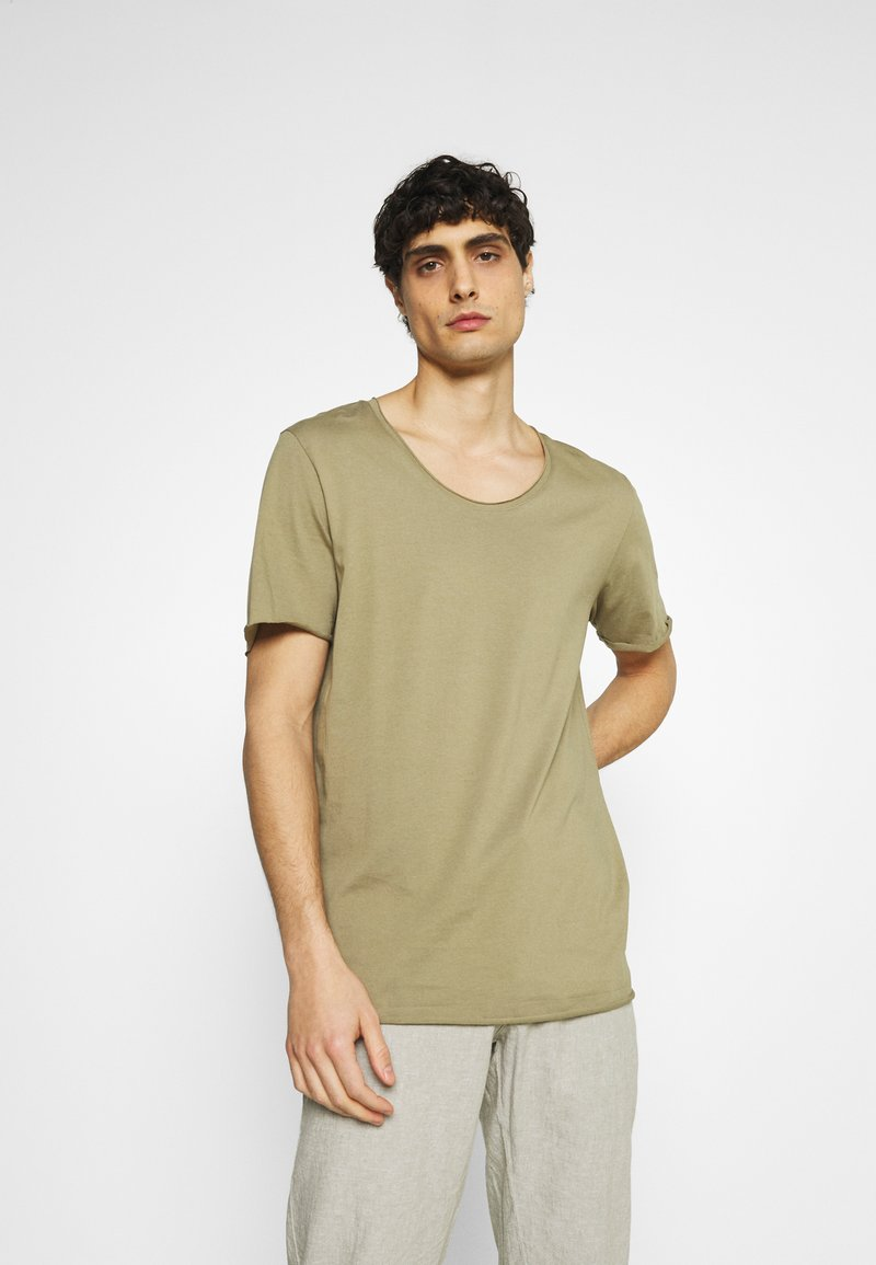 Selected Homme - SLHWYATT O NECK TEE  - T-shirt - bas - aloe