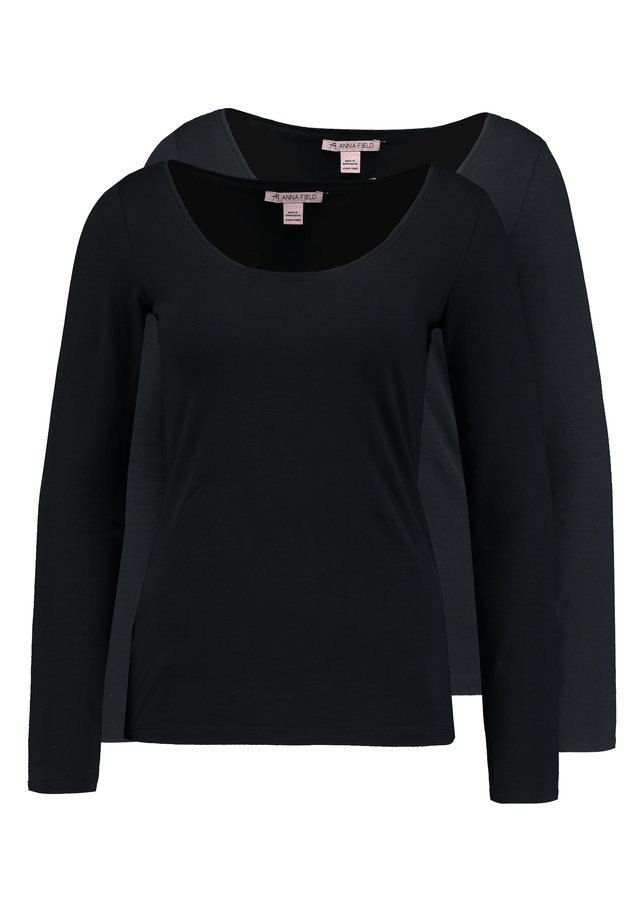 2 PACK - Long sleeved top - black/black