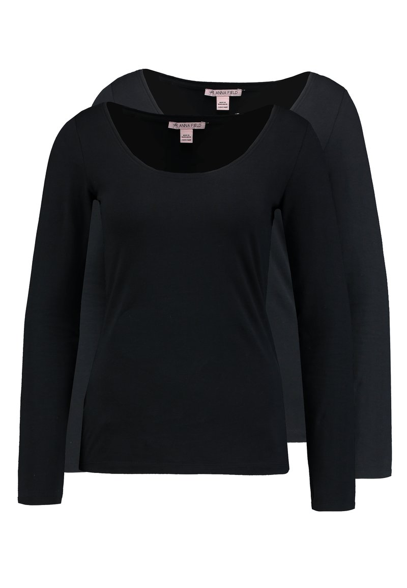Anna Field - 2 PACK - Long sleeved top - black/black