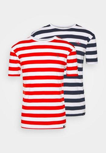 BOLD HORIZONTAL STRIPE 2 PACK - Print T-shirt - navy/red