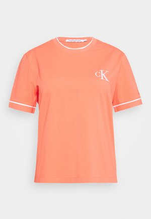 EMBROIDERY TIPPING TEE - Print T-shirt - coral