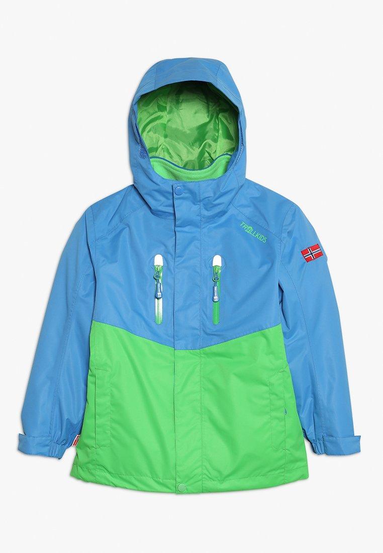 TrollKids - KIDS BRYGGEN JACKET UNISEX 2-IN-1 - Hardshell jacket - medium blue/bright green