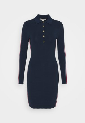 LOGO TAPE SPLIT HEM DRESS - Shift dress - midnightblue