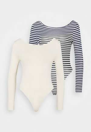 LONG SLEEVE LOW BACK BODYSUIT 2 PACK - Bluzka z długim rękawem - blue