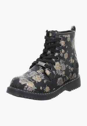 Lace-up ankle boots - schwarz-kombi