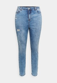 Missguided Plus - MINIMAL RIPPED - Jeans Skinny Fit - blue - 4