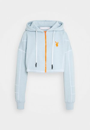 PLAYBOY ZIP THROUGH CONTRAST STITCH CROP HOODY - Sudadera con cremallera - dusky blue