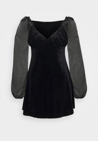 Missguided Petite - PUFF SLEEVE SKATER DRESS - Kjole - black - 3