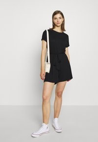 Even&Odd - BASIC - SHORT SLEEVES BOAT PLAYSUIT - Combinaison - black - 1