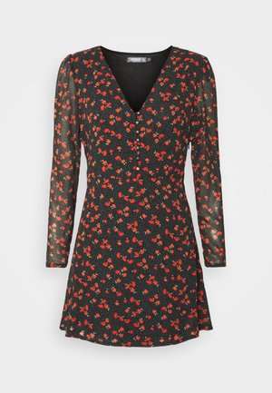HALF BUTTON TEA DRESS FLORAL - Robe d'été - black