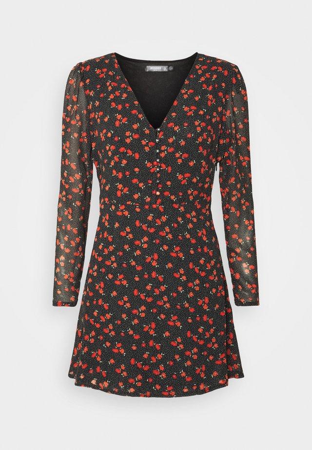 HALF BUTTON TEA DRESS FLORAL - Robe d'été - black