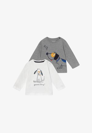 2 PACK - Longsleeve - mottled grey/white