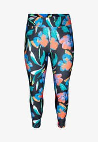 Zizzi - MIT BLUMENMUSTER - Leggings - Trousers - black - 4