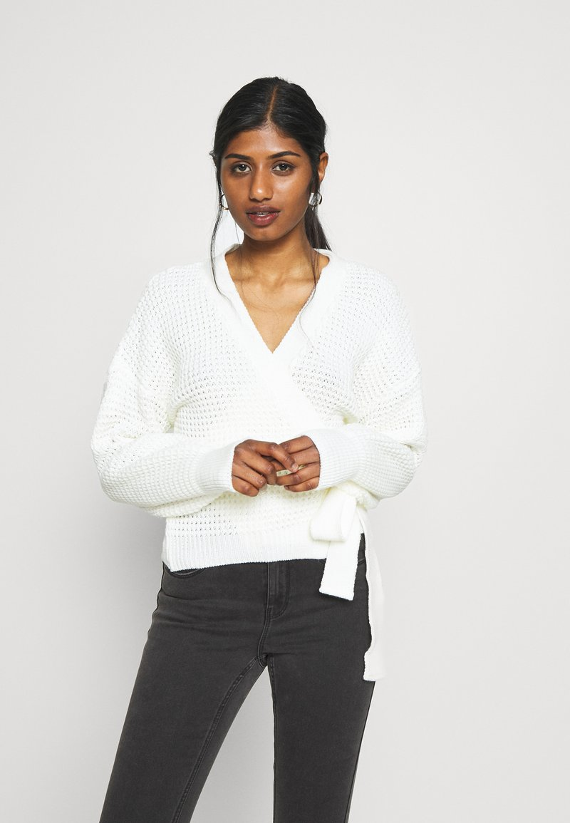 Missguided Petite - WRAP OVER TIE  - Cardigan - cream