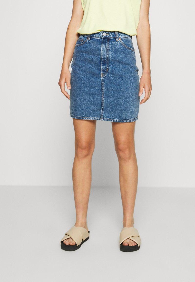 Monki - MIMMIE SKIRT - Kokerrok - blue medium dusty