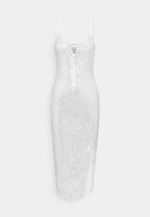 ALL OVER SEQUIN SLIT CAMI DRESS - Robe de soirée - white