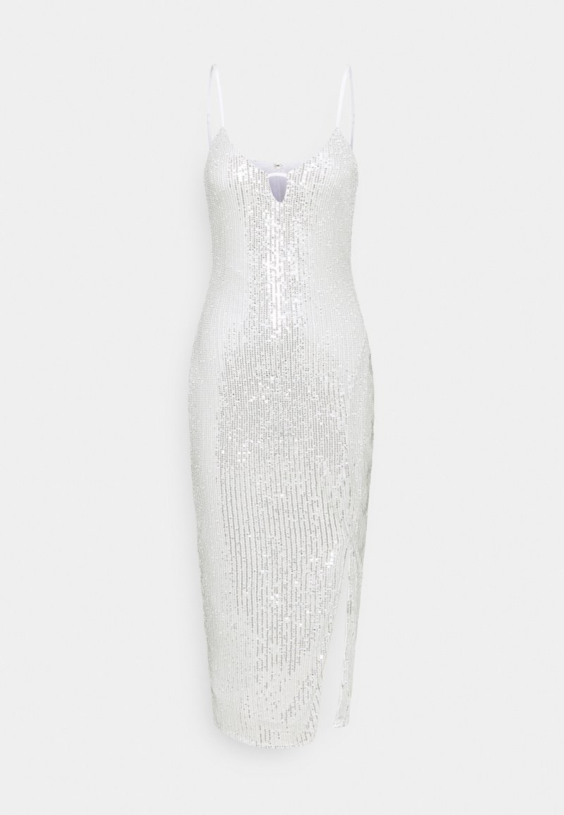 Missguided - ALL OVER SEQUIN SLIT CAMI DRESS - Sukienka koktajlowa - white