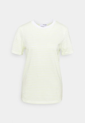 SLFMY PERFECT SS TEE BOX CUT STR COLOR B - T-shirts med print - young wheat/snow white