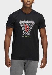 adidas Performance - DAME LOGO T-SHIRT - Print T-shirt - black - 4