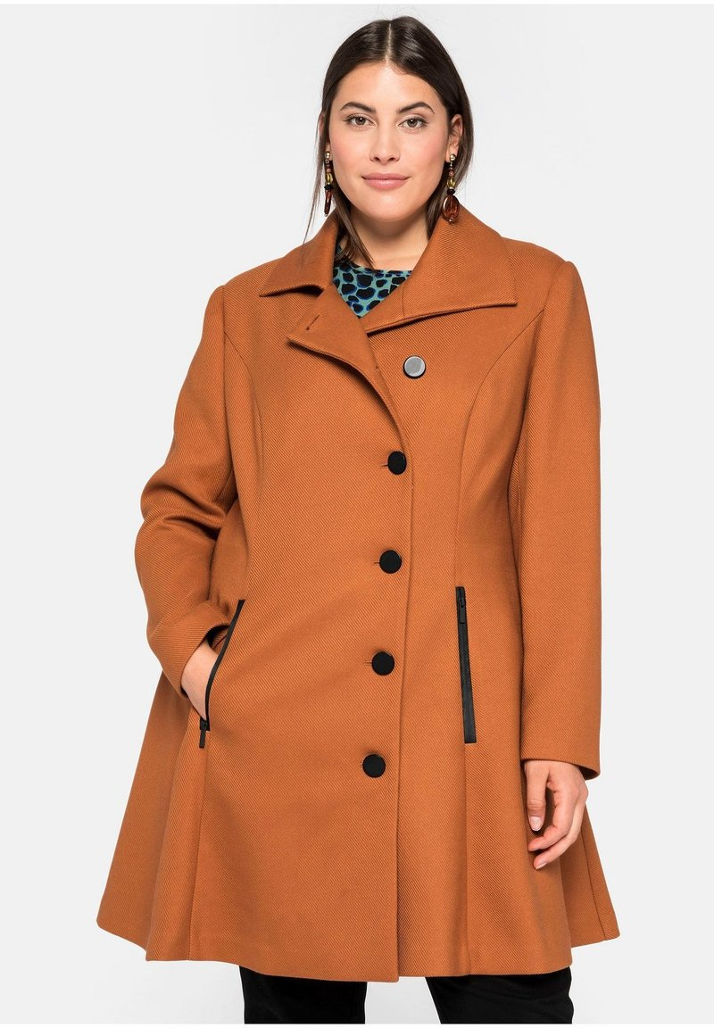 Sheego - Classic coat - cognac