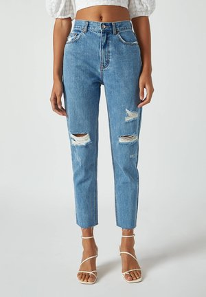 Straight leg jeans - mottled dark blue
