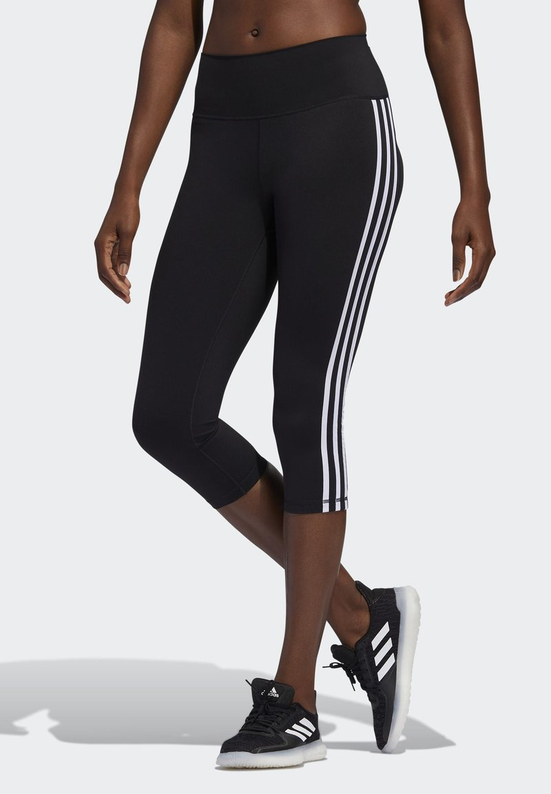 adidas Performance - BELIEVE THIS 3 STRIPES LEGGINGS - 3/4 sportovní kalhoty - black