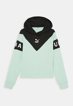 COLOR BLOCK HOODY - Mikina s kapucí - mist green/black