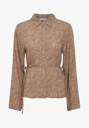 Button-down blouse - rose brown flower mix