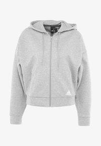 3STRIPES ATHLETICS HODDIE PULLOVER - veste en sweat zippée - medium grey heather/white
