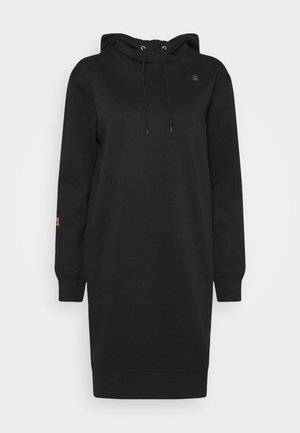GRAPHIC TEXT BF HOODED - Jumper dress - black