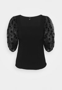River Island - DOTTED ORGANZA SLEEVE BLOUSE - Camicetta - black - 3