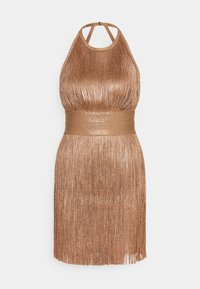 Hervé Léger - HIGH NECK FOIL FRINGE DRESS - Vestito elegante - gold - 0