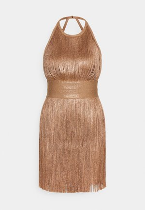 HIGH NECK FOIL FRINGE DRESS - Robe de soirée - gold