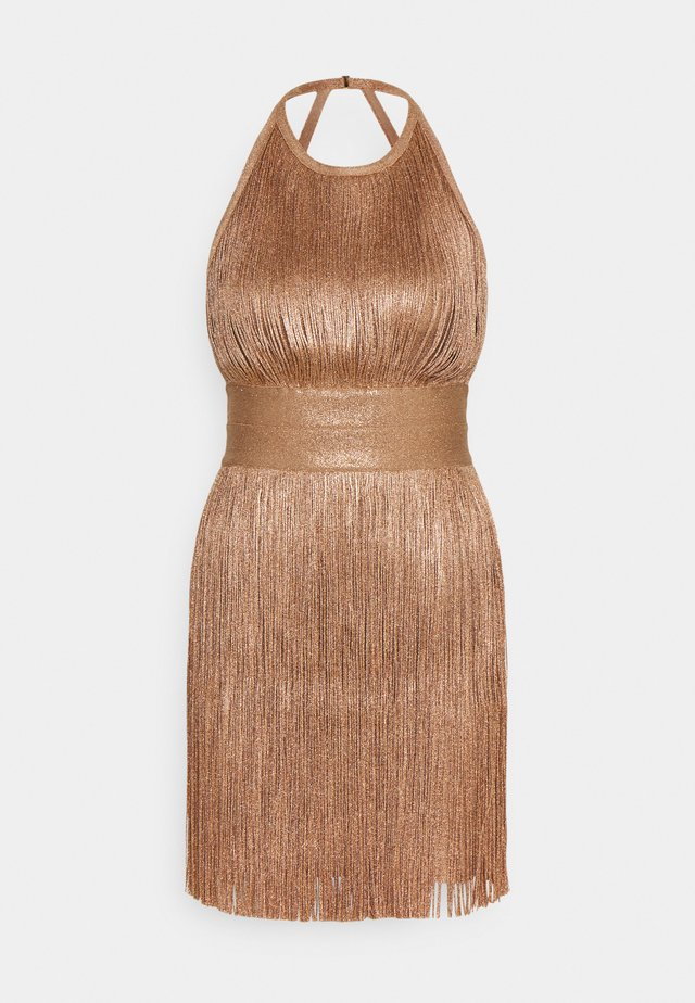 HIGH NECK FOIL FRINGE DRESS - Vestido de cóctel - gold