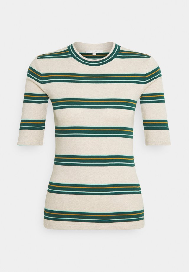 STRIPED TEE - Långärmad tröja - beige/green