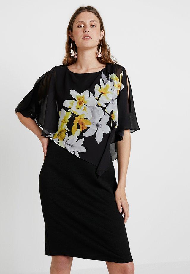 LEMON ORCHID OVERLAYER DRESS - Sukienka z dżerseju - black