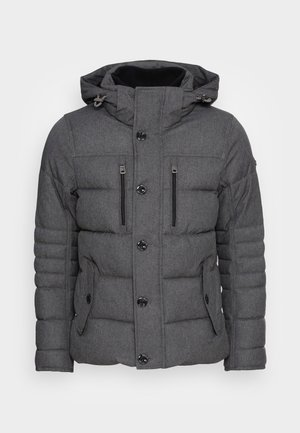PADDED JACKET WITH HOOD - Giacca invernale - grey garment dye structure