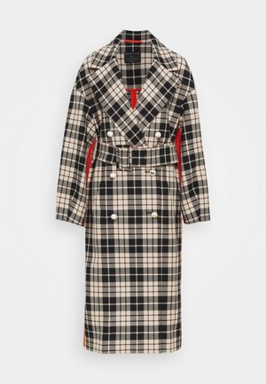 BELTED CHECK DOUBLE FACED COTTON COAT - Zimní kabát - black/white