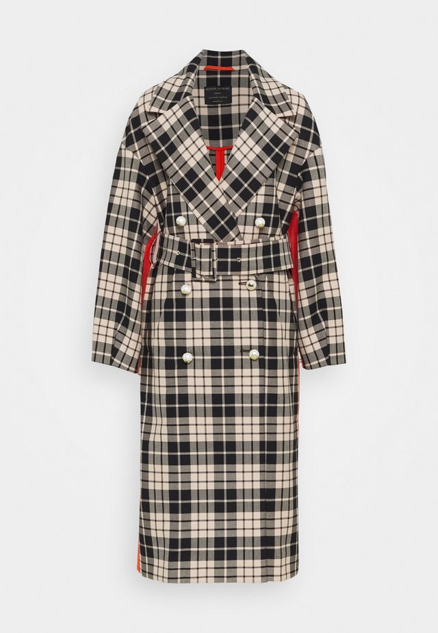 BELTED CHECK DOUBLE FACED COTTON COAT - Abrigo - black/white